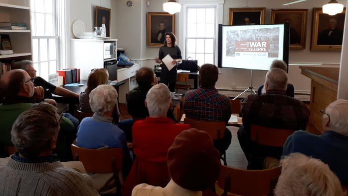 "QAHN's ""Heritage Talks"" series at the Brome County Museum: Caitlin Bailey and ""The Business of War"" (March 10, 2018)"