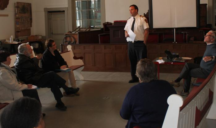 North Hatley Fire Chief McKenna explained the ins and outs of protecting heritage buildings from risk of fire. (Photo - Matthew Farfan)