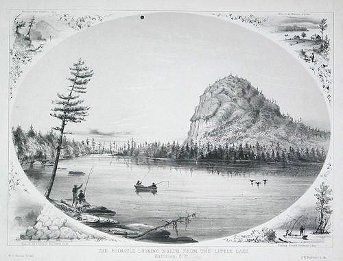 "Pinacle. Vu du petit lac vers le nord, Barnston / ""The Pinnacle Looking North from the Little Lake, Barnston"""