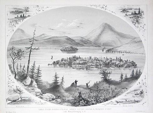 """Mont Owl's Head - Île Ronde - Île Whetstone - Pointe Magoon - Lac Memphrémagog / """"Owl's Head, Round Island, Whet Stone Island, & Magoon Point, Lake Memphremagog"""""""