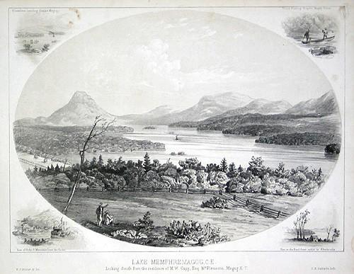 """Lac Memphrémagog. Vu vers le sud de la résidence de M. W. Copp, Esq. Mont Pleasant. Magog / """"Lake Memphremagog, Looking South from the Residence of M. W. Copp, Esq., Mt. Pleasant, Magog"""""""