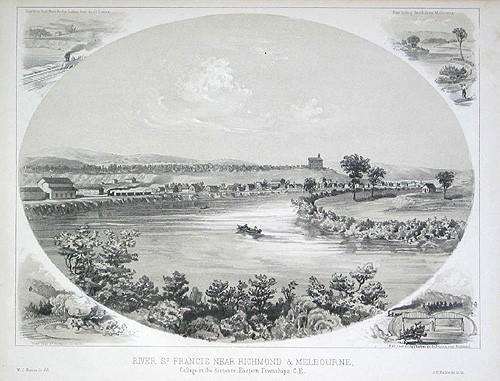 """Rivière Saint-François près de Richmond et Melbourne. Collège au loin / """"River St. Francis near Richmond & Melbourne, College in the Distance"""""""