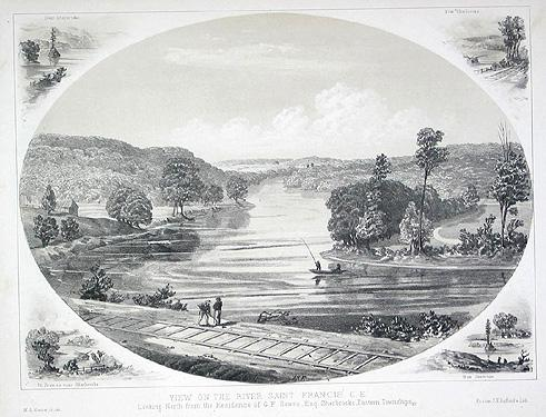 "Rivière Saint-François. Vu de la résidence de G. F. Bowen, Esq. Sherbrooke / ""View on the River Saint Francis, Looking North from the Residence of G. F. Bowen, Esq., Sherbrooke"""