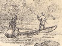 """Pêche à la truite dans les rapides. Rivière Magog / """"Trout Fishing, Rapids, Magog River"""""""
