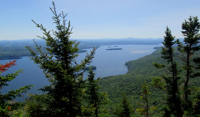 The view from the summit of Owl's Head (in Potton Township), overlooking Lake Memphremagog towards Newport, Vermont. (Photo - Matthew Farfan)