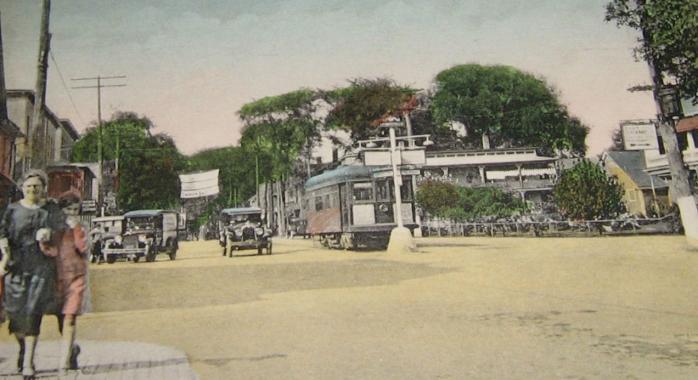 Centreville de Lennoxville, au coin des rues Queen & College, vers 1908 / Downtown Lennoxville, corner of Queen & College Streets, c.1908