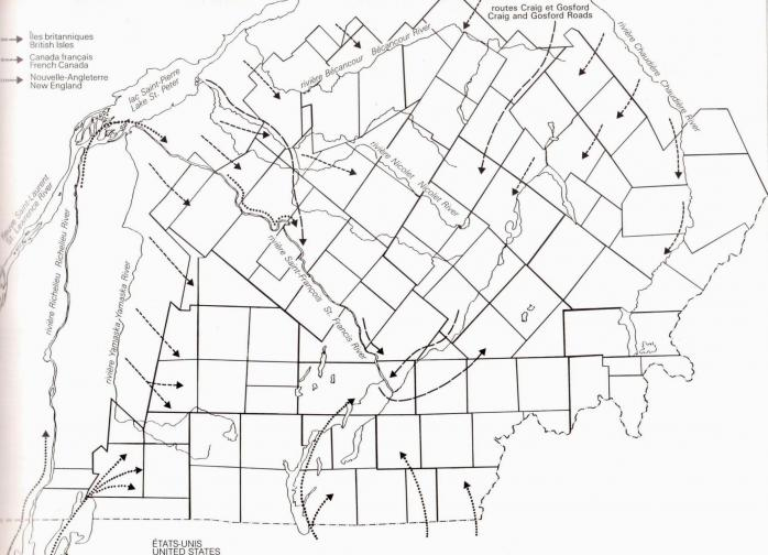 Principal Access Routes of Eastern Townships Settlers / Grands axes de l'immigration dans les Cantons-de-l'Est