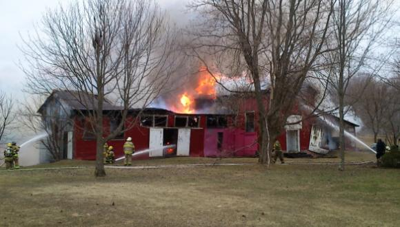 "The fire at the Missisquoi Museum's ""Bill's Barn."" (Photo - courtesy"